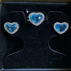 NWT- Beautiful Blue Heart Earrings and Ring